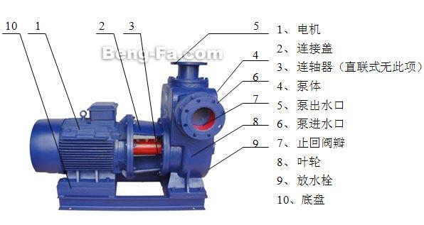 双吸式自吸泵的水泵结构图
